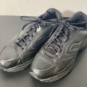 Women's Saucony Black Leather Walking Shoes 8.5M